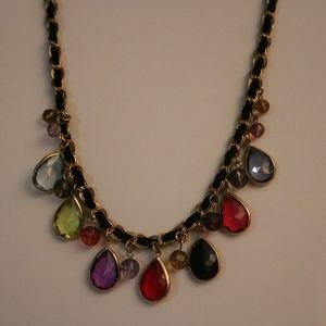 Multi-Stone Chain and Leather Choker or Bib Neckla